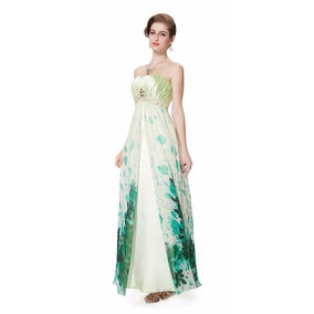 V1321 Vestido Elegante Estampado Verde Talla 10, It Girls