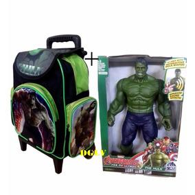 Mochila Escolar Personagem Infantil Com Rodinha Hulk+ Boneco