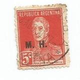Selo Argentina,gal San Martin/ministério Finanças,5c 1925.