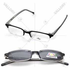 Armação Oculos Grau 2 Clip On Masculino Feminino Polarized
