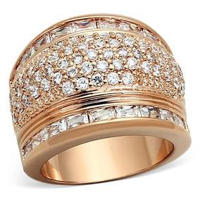 Anel Folheado A Ouro Rosê Cravejado Zirconia Pedra Natural