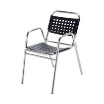 Cadeira Preta Em Alumínio Com Braços S/juros S/frete