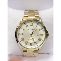 Relógio Masculino Atlantis Dourado Calendário Frete Grátis
