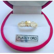 Precioso Anillo Tres Corazones De Plata Y Oro Con Piedras