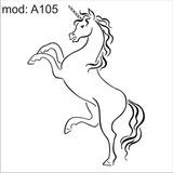 Adesivo A105 Unicornio Branco Chifre Na Cabeça Patas