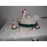 Artesanias: Original Adorno Tejido Al Crochet Gallina Con Po