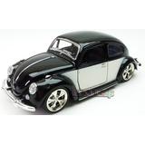 Carro Miniatura Fusca 1:32 - Preto Branco Roda Esportiva