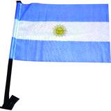 Bandera Argentina Para Auto Mastil Plastico X 100 U