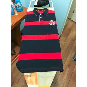 Linda Camiseta Polo Nautica Azul Escuro/vermelho- Tamanho M