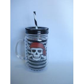 Caneca Canudo Jolly Roger Caveira Coleção Presente Pirata