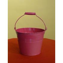 Cubeta Decorativa De Lámina Color Rosa Con Asa 17.5 Cm Alto