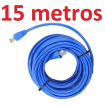 Cabo Rede Cat6 Azul 15m Metros Internet Net Lan Utp Montado