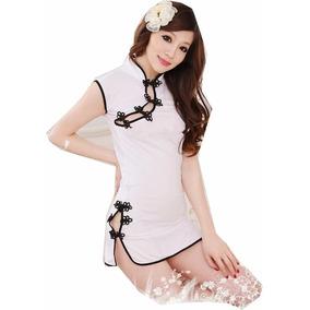 Vestido Chino Estilo Cheongsam Blanco Unitalla