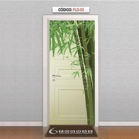 Adesivo Decorativo Para Porta Textura Bambu Desenho Flo03