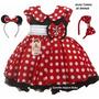 Vestido Infantil Festa Luxo Minnie Vermelha Com 2 Tiaras