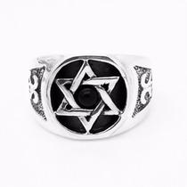 Anel Prata Lei 950 Estrela Pedra Onix Davi Salomao Hexagrama