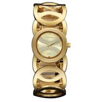 Relógio Dourado Feminino Amuda Aço Inoxidável 2032
