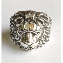Anel De Prata Maciça 925. Leão.