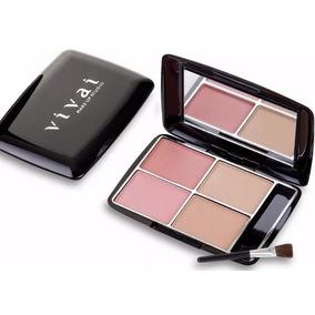 Estojo Kit Maquiagem Vivai - 4 Blush + Pincel + Espelho