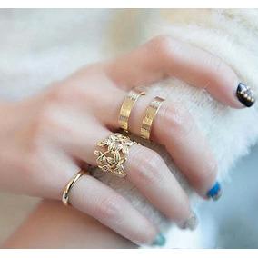 Anillos Midi Ring Tendencia Hojas Set Corazon Mujer Mitad