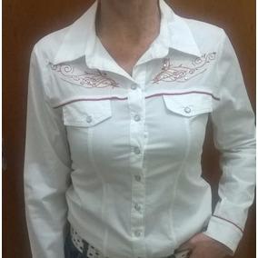 Camisa Dama Estilo Country Vaquera Bordada Exclusiva M/l T-s
