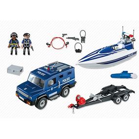 Playmobil 5187. Coche De Policía Con Lancha. Playmotiendita