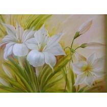 Quadro Painel Pintado A Óleo Hibiscos Brancos 60x100