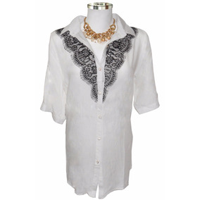 Camisa Feminina Dudalinda Flor Com Renda