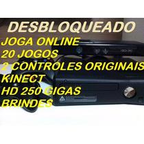 Xbox+20 Jogos+hd 250gbs+2controles+kinect+(è Desbloquead)