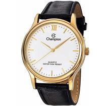 Relógio Champion Dourado Couro Masculino Wr 30m Cn20060b --