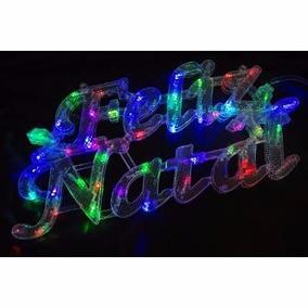 Enfeite Painel Led Feliz Natal Iluminado Colorido Rgb 220v