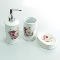 Kit Conjunto Para Banheiro Em Porcelana - 3 Peças Flores