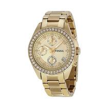 Relógio Feminino Fossil Riley Fes2683/z Dourado Com Cristai