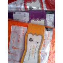 Mandil Liso Con Bolsillo Delantero Diseño Cubiertos Colores