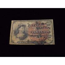 Ee.uu. Antigüo Billete De 10 Centavos De Dolar De 1863