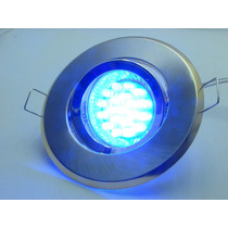 Kit Spot Direcionável Prata + Lampada 3 Ultra Leds Azul