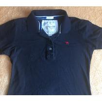 Camisa Abercrombie & Fitch Gola Polo Feminina Preta