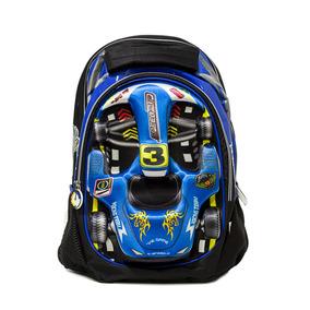 Mochila Infantil Carrinho De F1 Menino Azul 3d Alto Relevo