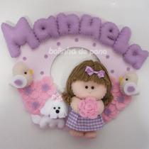 Enfeite Porta Maternidade Boneca Com Cachorro Feltro Bebê