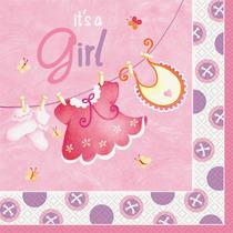 Rosa Tendedero Chica Baby Shower Servilletas, 16ct