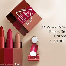 Presente Natura Faces 3x Batom - Vermelho Cereja E Nude