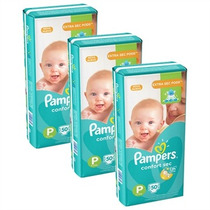 3 Pacotes De Fraldas Pampers Confort Sec P 50 Un Cada
