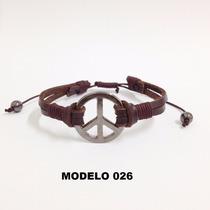 Pulseira Masculina Couro Simbolo Da Paz Rock Peace Hippie