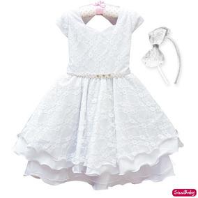 Vestido Infantil Daminha Batizado Formatura Luxo 4 Ao 16