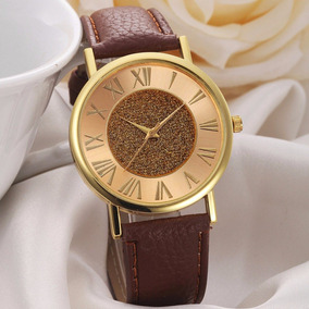 Relógio Feminino Mostrador Brilhante Numerais Romanos