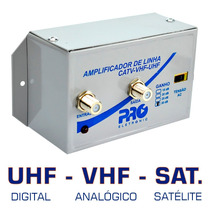 Amplificador Linha Sinal Tv Digital Analógica Satélite 30 Db