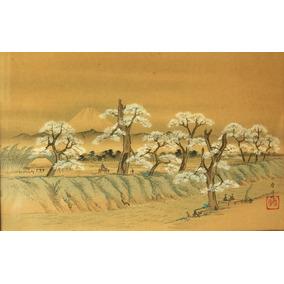 Pintura Técnica Mixta Paisaje De Japón