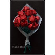 Ramo 12 Rosas De Papel *origami Deco* Romántico Y Original!!