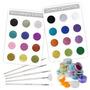 Kit 24 Decorativos 5 Pinceles Uñas Caviar Terciopelo Glitter