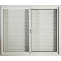 Ventana Aluminio Blanco 150x150 C/vidrios Y Postigo Celosía